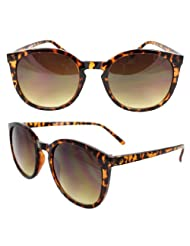 SWG Eyewear Retro Oval Gangnam Style Fashion Sunglasses Brown Leopard Frame Amber Lenses for Women and Men