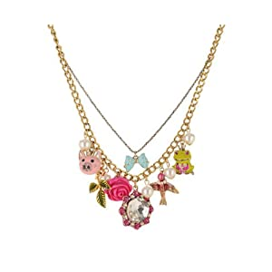 Betsey Johnson Rose Garden Charm Necklace