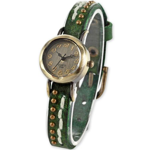 Vintage Style Bronze Small Dial Lady Women Slim Bracelet Green Band Quartz Watch WAA299