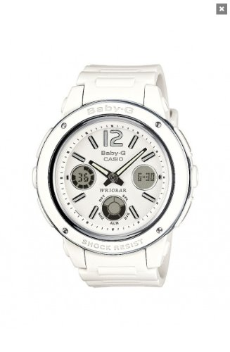 Casio Baby-G Ladies Quartz Watch with White Dial Analogue - Digital Display and White Resin Strap BGA-150-7BER
