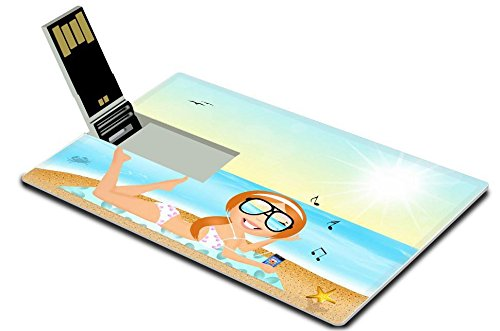 [MSD 32GB USB Flash Drive 2.0 Memory Stick Credit Card Size Image ID 27428180 girl with headphone music on the] (Ms Swimming Costume)