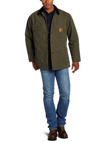 Carhartt Men's Chore Coat Blanket Lined Sandstone Duck, Army Green, Medium