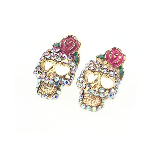 Suppion Women Girl Fashion Cute Pink Rose Rhinestone Skeleton Skull Earrings - 1