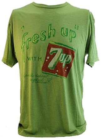 """7UP (Classic Soda) Mens T-Shirt - """"Freshing up With 7-UP"""" Classic Distressed Style on Green (X-Small)"""