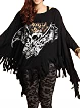 ELLAZHU Oversized Women Crossbones Batwing Sleeve Fringed Slouchy Baggy T-shirt (Black)