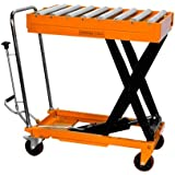 """Bolton Tools New Hydraulic Foot Operated Scissor Roller Top Lift Table Cart Hand Truck - 1100 LB of Capacity - 37.8"""" Max Height - Model TF50R"""