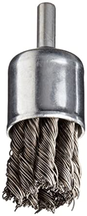 "Norton Stem Mounted Knotted End Brush, Carbon Bristles, 0.020"" Wire Size, 1/4"" Shank Diameter, 1"" Diameter (Pack of 1)"