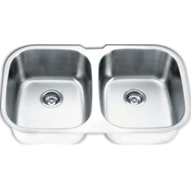 Yosemite Home Decor MAG504PS 18-Gauge Stainless Steel Undermount Double-Bowl Sink, 32-1/8-by-20-5/8-by-7-Inch, 9-Inch Deep, Pearl Satin