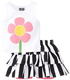 Mud Pie Baby Girls\' Flower Tank and Tutu Skirt Set, Black/White/Pink, 12 18 Months