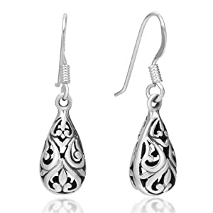 925 Oxidized Sterling Silver Bali Inspired Filigree Puffed Teardrop Dangle Hook Earrings 1.26'' Jewelry for Women - Nickel Free by Chuvora