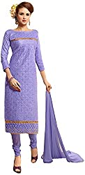 Manmauj Women's Cotton Unstitched Dress Material (MM10050DVIO, Violet)