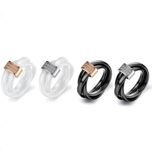 Fashion Ceramic Trinity Rings Gold Plated with Shinning Crystal Drill Rings Wj193