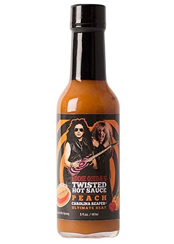 Eddie Ojeda's Twisted Hot Sauce | Ultimate Heat Natural Twist of Peach & Carolina Reaper Pepper Individually Boxed from Twisted Sister Lead Guitarist (Peach Carolina Reaper, 5 oz) (Gallon Red Hot Sauce compare prices)