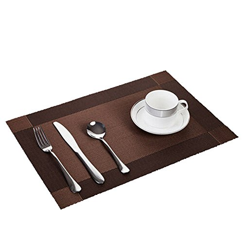 High Quality Durable Pvc Dinner Placemat Heat Insulation Table Mat Protector 4Pcs/Pack For Promotion (Dark Brown)