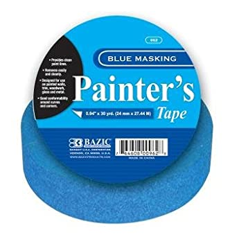 "BAZIC 0.94"" x 30 Yards Blue Painter's Masking Tape Case Pack 36 - 373764"
