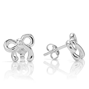 925 Sterling Silver Cute Tiny Bow Ribbon Post Stud Earrings 11 mm Jewelry for Women, Teens, Girls - Nickel Free by Chuvora