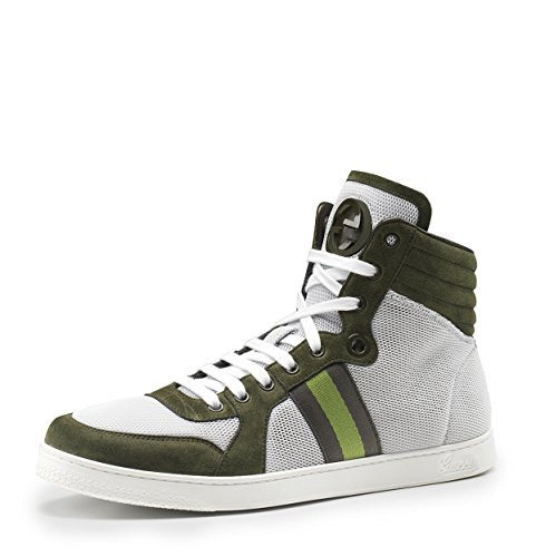 db3ae6dfe83d2 Gucci Thunder Stretch Nylon with Green Suede High Top Sneakers 11 ...