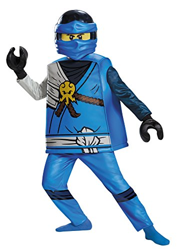 [UHC Boy's Lego Jay Minifigure Ninja Warrior Theme Outfit Party Halloweem Costume, S (4-6)] (Lego Ninja Costume)