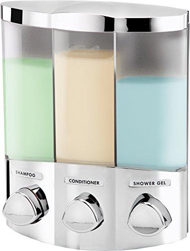 Euro Series TRIO Three Chamber Soap and Shower Dispenser, Chrome Bath Trio