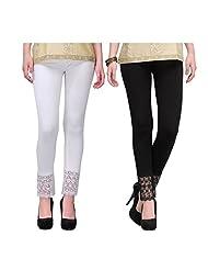 Hrithvi Black N White Lace Premium Leggings Combo