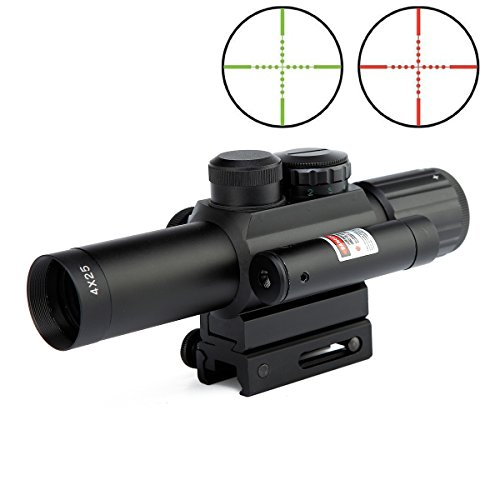 LVLING 2 In 1 Tactical 4 X 25mm Rifle Scope with Red Dot Laer Sight, Reflex Red / Green Reticle Mount (Marlin Model 25 Parts compare prices)