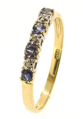 Kareco 9ct Yellow Gold Tanzanite And Diamond Set 1/2 Eternity Ring