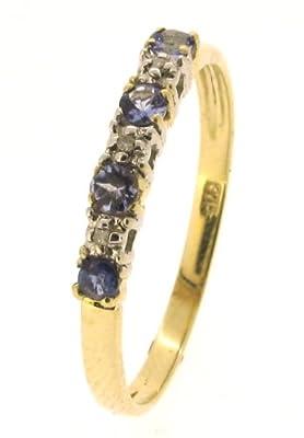 Kareco 9ct Yellow Gold Tanzanite And Diamond Set 1/2 Eternity Ring