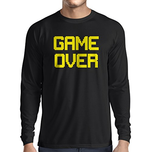 T-shirt manica lunga da uomo Game Over regali gamer divertenti (XXX-Large Nero Giallo)