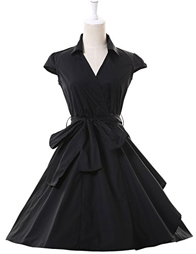 Women 1950s Vintage Retro Party Swing Dress with Cap Sleeve