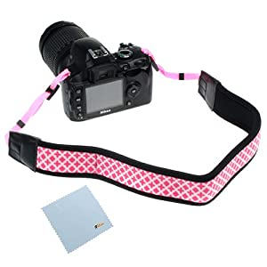 GTMax Pink Anti-Slip Soft Neoprene Camera Should/Neck Strap Belt for Canon EOS SL1 T5i T4i T3i T3 T2i; SX50 HS, G15; Nikon P520, P510, L820, L810, D5200, D3200, D600, D800 or any other Pentax Sony Fuji Olympus Panasonic SLR Cameras *with Cleaning Cloth*
