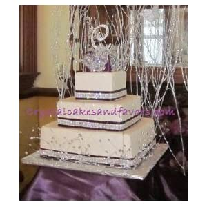 wedding reception decoration ideas, crystal cake ribbon