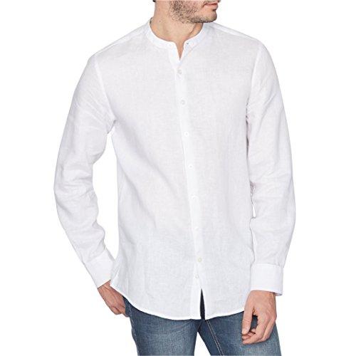 R Essentiel Uomo Camicia Regular In Lino Collo Alla Coreana E Maniche Lunghe