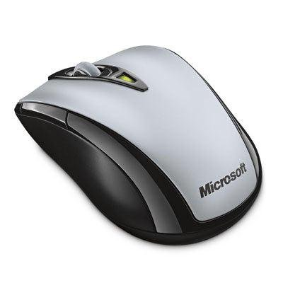 Microsoft Wireless Notebook Laser Mouse 7000 - Mouse - laser - 5 buttons - wireless - RF - USB wireless receiver - silver pearl - OEM pack of 3