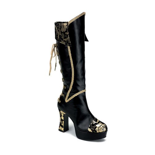 Womens High Heels 4 Inch Boots Sexy Pirate Boot Lace Accent Gold And Black