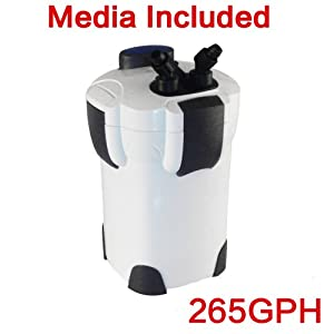 Pingkay Free Media 3-stage External Aquarium Filter 265gph with Builtin Pump Kit Canisterwith