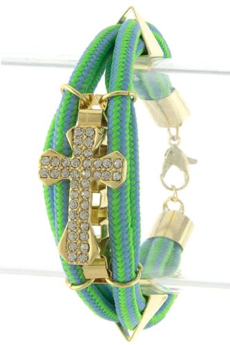Trendy Fashion Jewelry Cross Stud Patterned Strap Bracelet By Fashion Destination   (Mint)