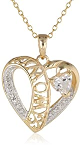 """18k Yellow Gold Plated Sterling Silver Two-Tone Created White Sapphire """"Mom"""" Heart Pendant Necklace, 18"""" from PAJ, Inc"""