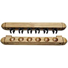 Roman-Style Two-Piece Wall Rack Oak 6 Cue