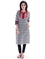 AARR Round Neck Casual 3/4 Sleeve Cotton A-Line Kurta - B017IV1MAK