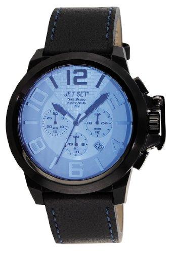 Jet Set J6190B-367 - Reloj cronógrafo de cuarzo para hombre con correa de piel, color negro