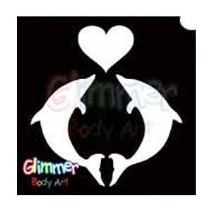 Art Glitter Tattoo Stencils - Dolphin Heart (5/pack): Toys & Games