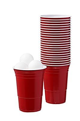 Beer Ping Pong Balls and Red Plastic Drinking Cups Washable Perfect for Beer Pong Games by Juvale