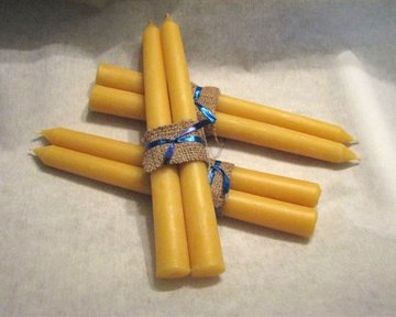 "Organic Hand Made 100% Beeswax Taper Thick Decorative Candles - 10"" Tall, 7/8 Thick (Pack of 6)"