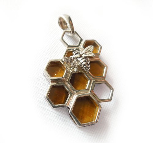 Tiger¡¯s Eye Natural Gemstone Honeycomb Sterling Sliver Pendant Jewelry - Black Friday 2012 - Cyber Monday Low Price