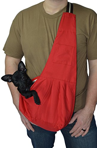 Red Pets Sling Carrier for Small Dog- Pet Cloth Totes and Carriers By Cozy Courier -Size Medium