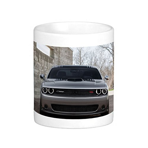 Great Gift Choice - White 11 oz Classic White Ceramic Mugs Cutom Design with 2015 Dodge Challenger Gray Front View Hemi Scat Pack Shaker Coffee Mugs/Tea Mugs/Drink Cups - Dishwasher and Microwave Safe (The View Coffee Cup compare prices)