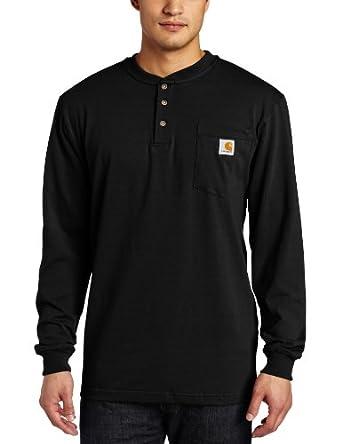 Carhartt Men's  Workwear Pocket LS Henley, Black, Small