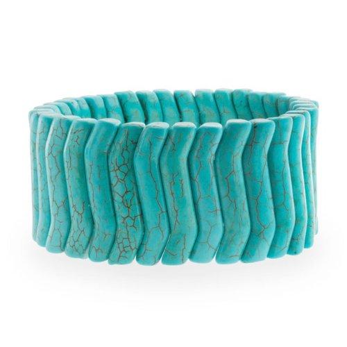 Bling Jewelry Wave Gemstone Blue Turquoise Stretch Bracelet