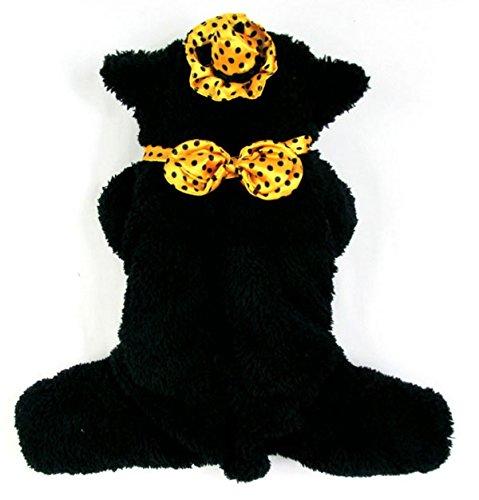 Pet Cat Dog Cubs Bear Dog Costume Plush Jumpsuit Bowtie Party Photo Cat Small Dog Clothes Black Xs