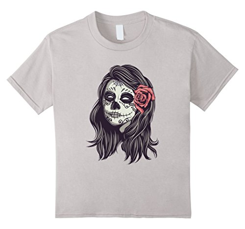 Kids Old School Tattoo Mexican Girl T-Shirt 10 Silver